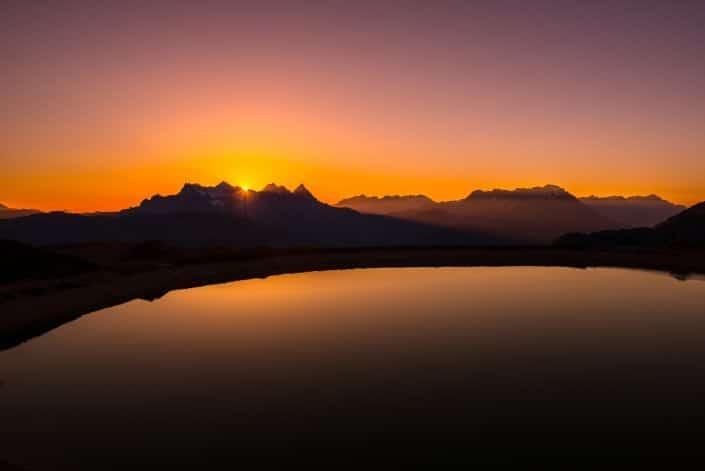 Sonnenuntergang auf der Hornköpflhütte